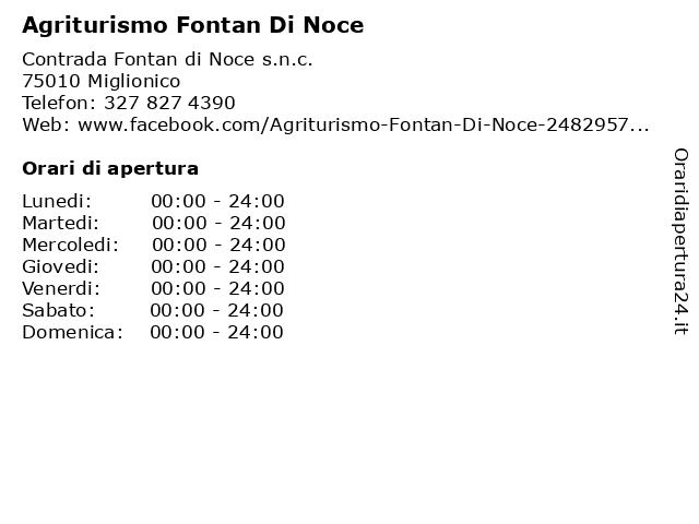 Agriturismo Fontan Di Noce a Miglionico: indirizzo e orari di apertura