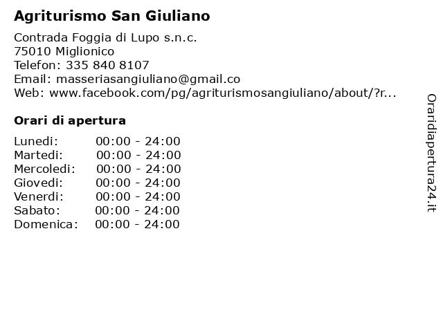 Agriturismo San Giuliano a Miglionico: indirizzo e orari di apertura
