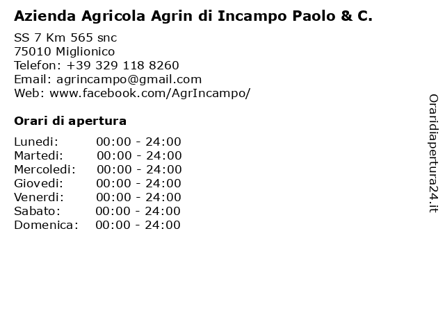 Azienda Agricola Agrin di Incampo Paolo & C. a Miglionico: indirizzo e orari di apertura