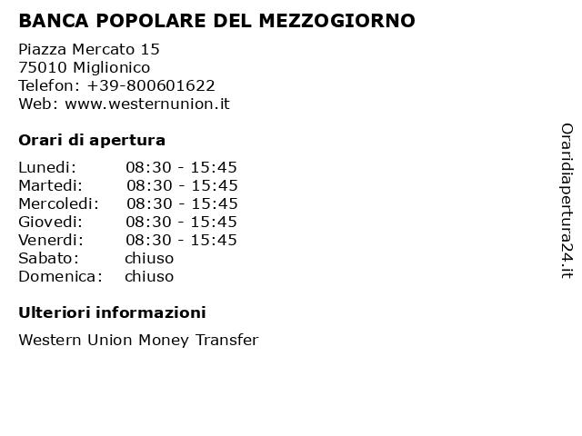 BANCA POPOLARE DEL MEZZOGIORNO a Miglionico: indirizzo e orari di apertura
