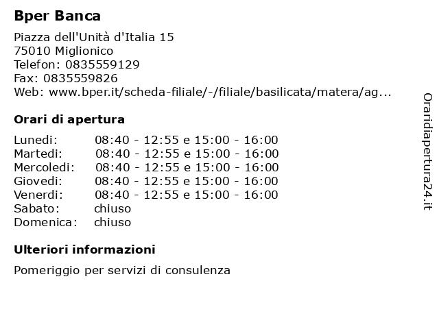 Bper Banca a Miglionico: indirizzo e orari di apertura