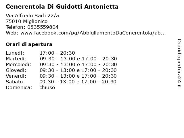 Cenerentola Di Guidotti Antonietta a Miglionico: indirizzo e orari di apertura