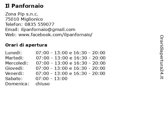 Il Panfornaio a Miglionico: indirizzo e orari di apertura