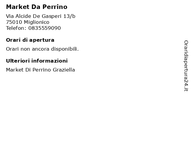 Market Da Perrino a Miglionico: indirizzo e orari di apertura