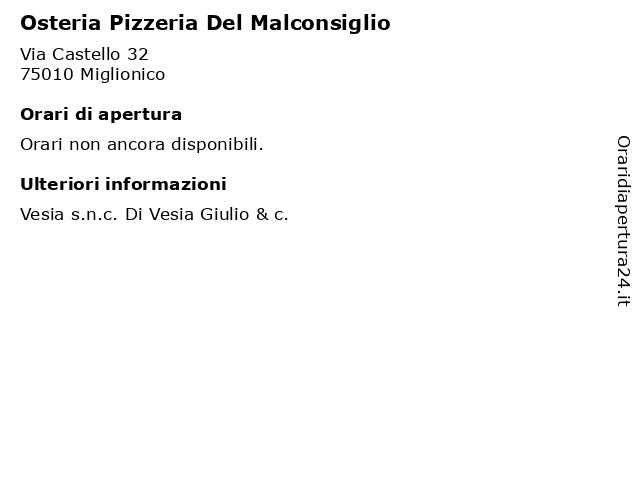 Osteria Pizzeria Del Malconsiglio a Miglionico: indirizzo e orari di apertura