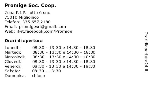 Promige Soc. Coop. a Miglionico: indirizzo e orari di apertura