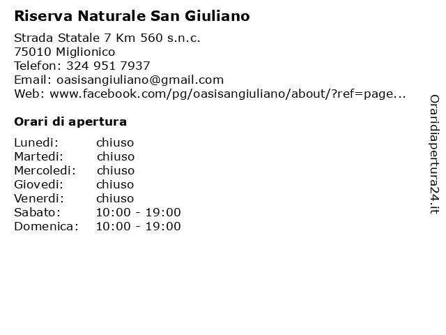 Riserva Naturale San Giuliano a Miglionico: indirizzo e orari di apertura