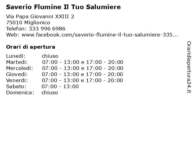 Saverio Flumine Il Tuo Salumiere a Miglionico: indirizzo e orari di apertura