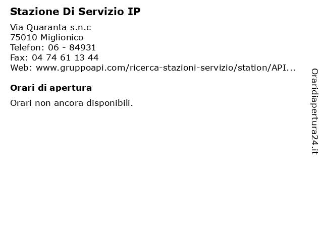 Stazione Di Servizio IP a Miglionico: indirizzo e orari di apertura