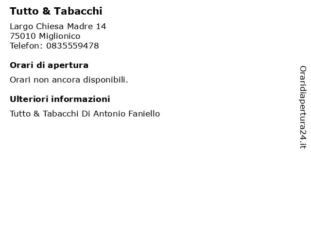 Tutto & Tabacchi a Miglionico: indirizzo e orari di apertura