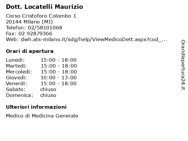 Dott. Locatelli Maurizio a Milano (MI): indirizzo e orari di apertura