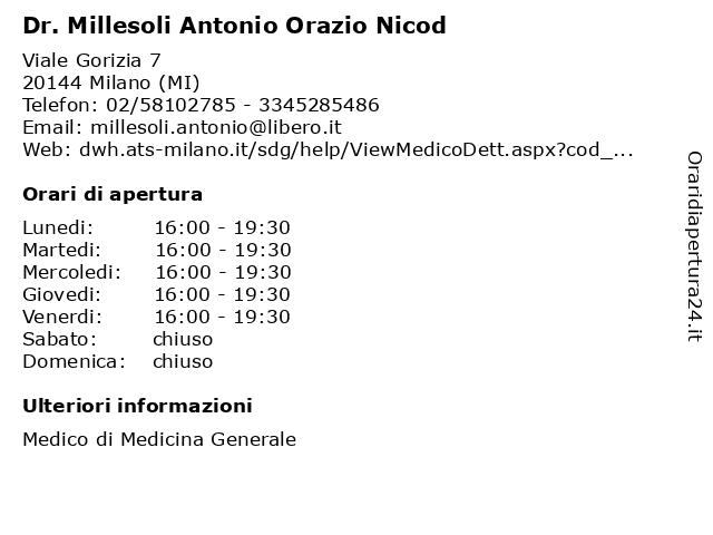Dr. Millesoli Antonio Orazio a Milano (MI): indirizzo e orari di apertura