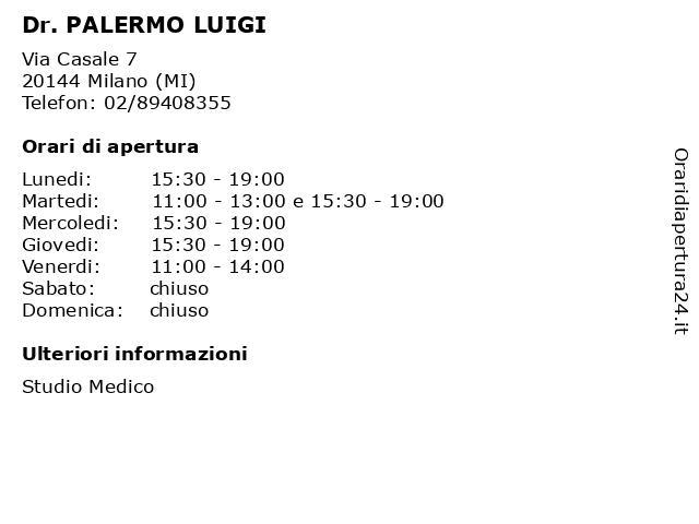 Dr. PALERMO LUIGI a Milano (MI): indirizzo e orari di apertura