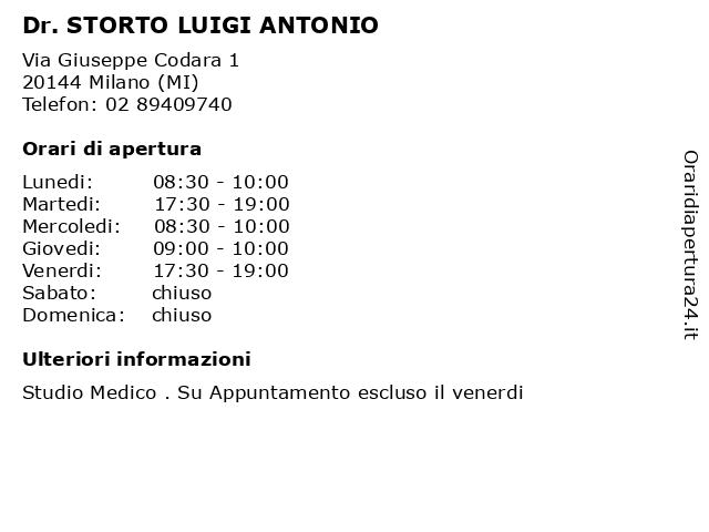 Dr. STORTO LUIGI ANTONIO a Milano (MI): indirizzo e orari di apertura