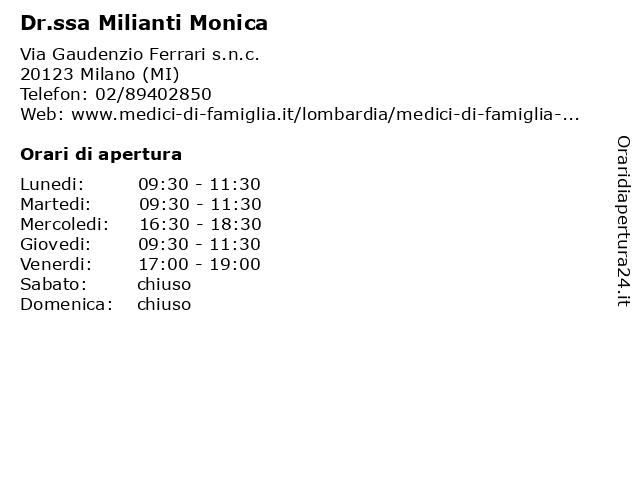 Dr.ssa Milianti Monica a Milano (MI): indirizzo e orari di apertura