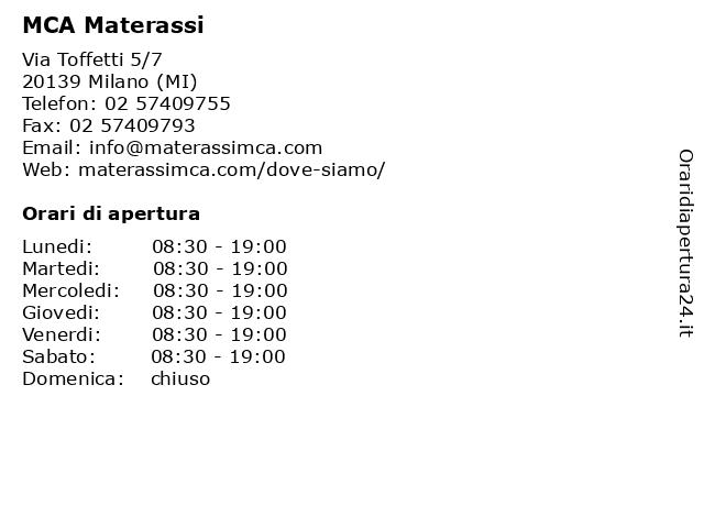 Mca Materassi Milano.ᐅ Orari Mca Materassi Via Toffetti 5 7 20139 Milano Mi