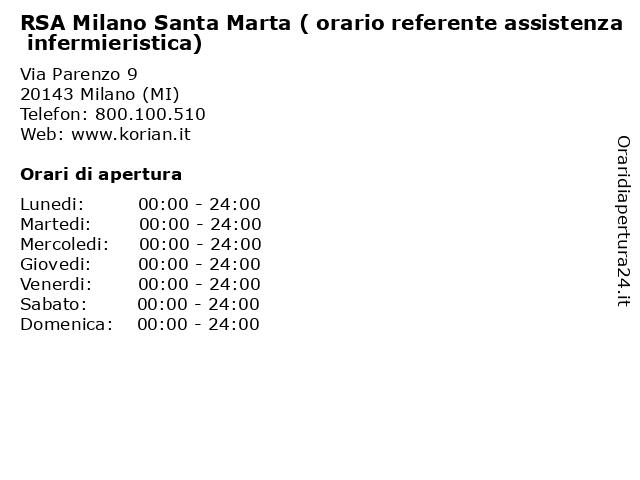 RSA Milano Santa Marta ( orario referente assistenza infermieristica) a Milano (MI): indirizzo e orari di apertura