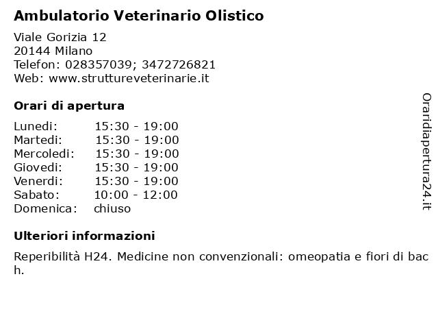 Ambulatorio Veterinario Olistico a Milano: indirizzo e orari di apertura