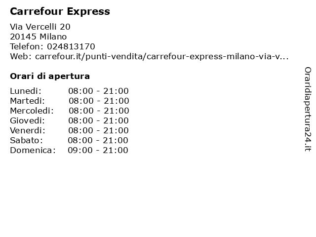 Carrefour Express a Milano: indirizzo e orari di apertura