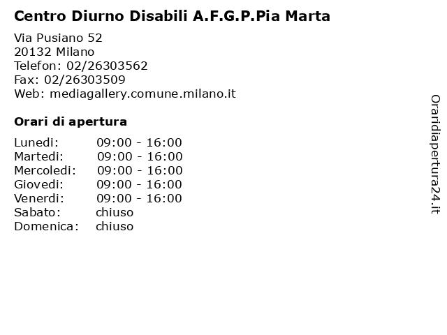 Centro Diurno Disabili A.F.G.P.Pia Marta a Milano: indirizzo e orari di apertura