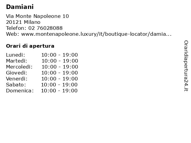 Damiani a Milano: indirizzo e orari di apertura