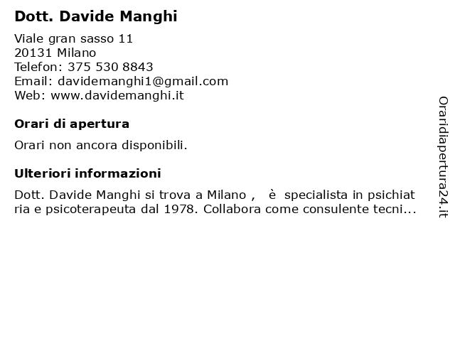 Manghi Dott. Davide Psichiatra a Milano: indirizzo e orari di apertura