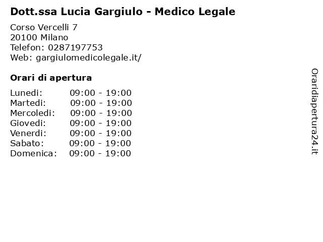 Dott.ssa Lucia Gargiulo - Medico Legale a Milano: indirizzo e orari di apertura