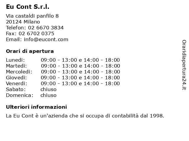 Eu Cont S.r.l. a Milano: indirizzo e orari di apertura
