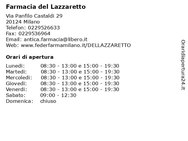 Farmacia del Lazzaretto a Milano: indirizzo e orari di apertura