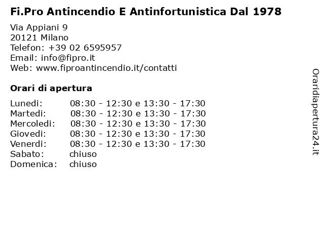 Fi.Pro Antincendio E Antinfortunistica Dal 1978 a Milano: indirizzo e orari di apertura