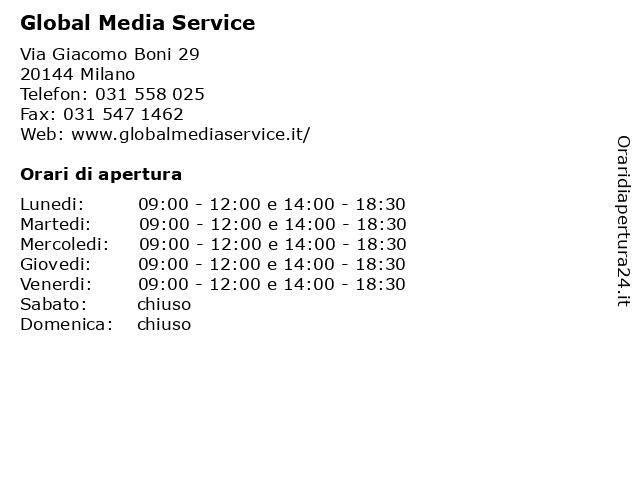 Global Media Service a Milano: indirizzo e orari di apertura