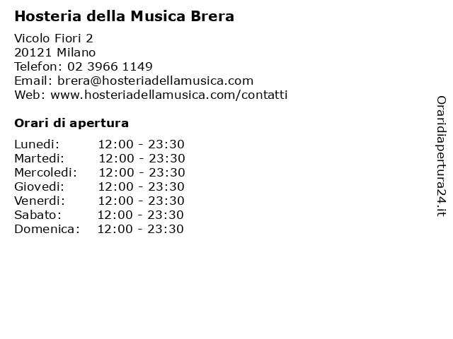 Hosteria della Musica Brera a Milano: indirizzo e orari di apertura