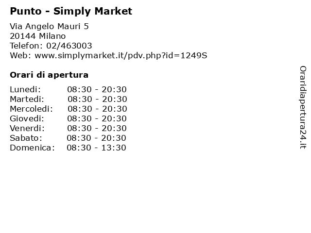 Punto - Simply Market a Milano: indirizzo e orari di apertura