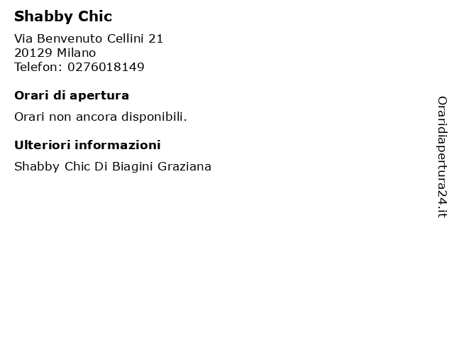 Shabby Chic a Milano: indirizzo e orari di apertura