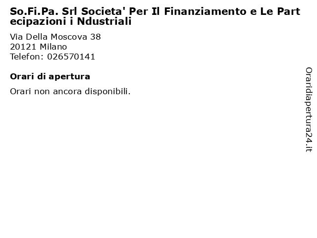 So.Fi.Pa. Srl Societa' Per Il Finanziamento e Le Partecipazioni i Ndustriali a Milano: indirizzo e orari di apertura
