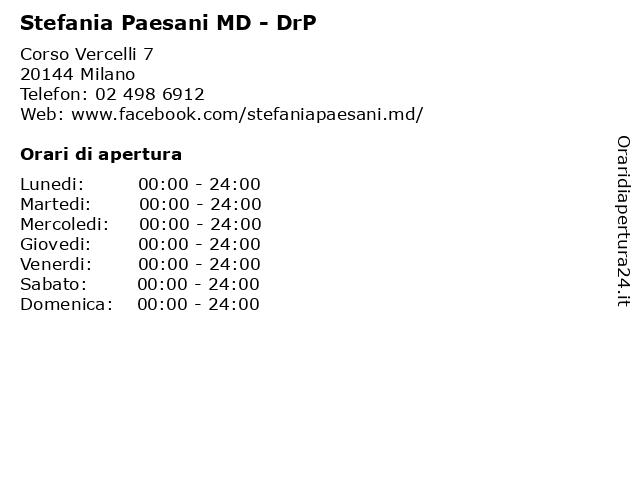 Stefania Paesani MD - DrP a Milano: indirizzo e orari di apertura