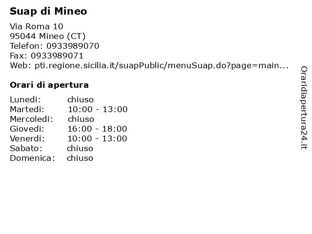 Suap di Mineo a Mineo (CT): indirizzo e orari di apertura