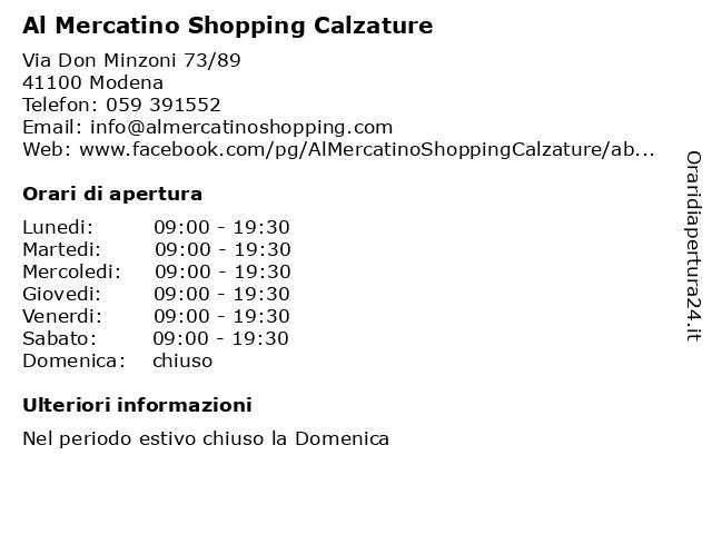 Al Mercatino Shopping Calzature a Modena: indirizzo e orari di apertura