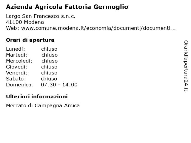 Azienda Agricola Fattoria Germoglio a Modena: indirizzo e orari di apertura