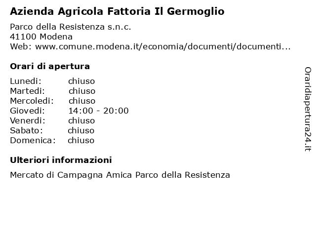 Azienda Agricola Fattoria Il Germoglio a Modena: indirizzo e orari di apertura
