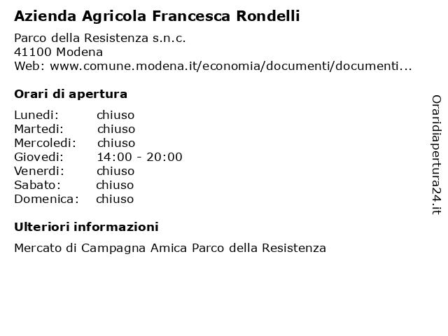 Azienda Agricola Francesca Rondelli a Modena: indirizzo e orari di apertura