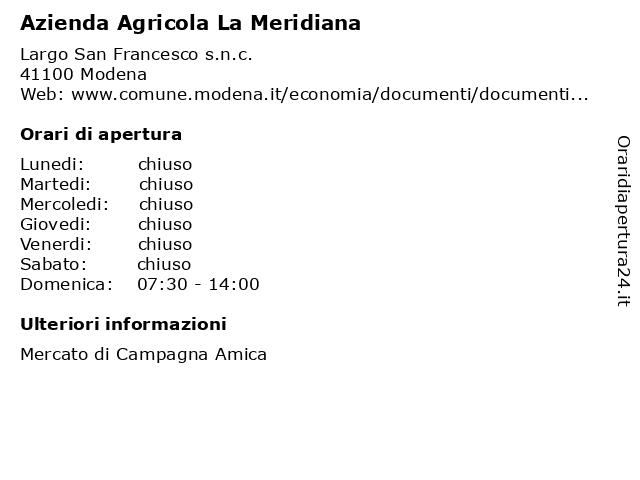 Azienda Agricola La Meridiana a Modena: indirizzo e orari di apertura