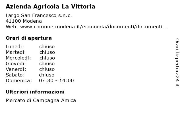 Azienda Agricola La Vittoria a Modena: indirizzo e orari di apertura