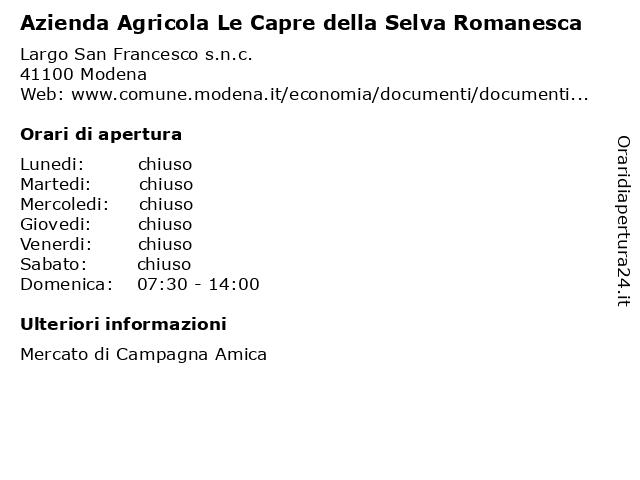 Azienda Agricola Le Capre della Selva Romanesca a Modena: indirizzo e orari di apertura