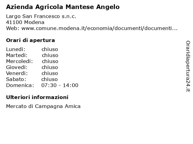 Azienda Agricola Mantese Angelo a Modena: indirizzo e orari di apertura
