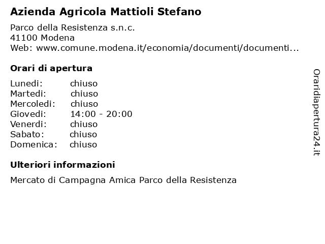 Azienda Agricola Mattioli Stefano a Modena: indirizzo e orari di apertura