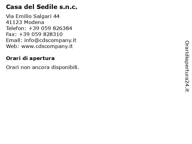 Casa Del Sedile Snc.ᐅ Orari Casa Del Sedile S N C Via Emilio Salgari 44 41123 Modena