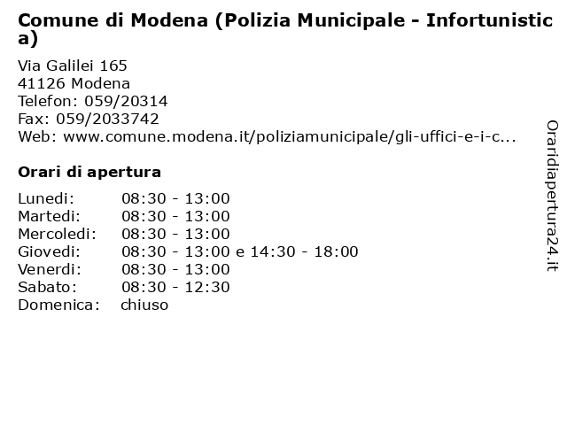 Comune di Modena (Polizia Municipale - Infortunistica) a Modena: indirizzo e orari di apertura