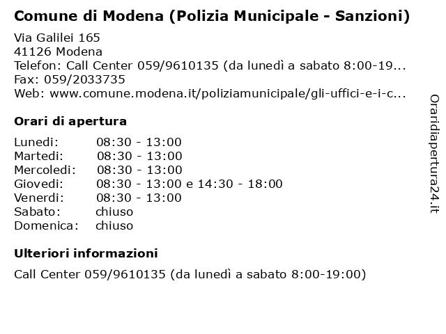 Comune di Modena (Polizia Municipale - Sanzioni) a Modena: indirizzo e orari di apertura