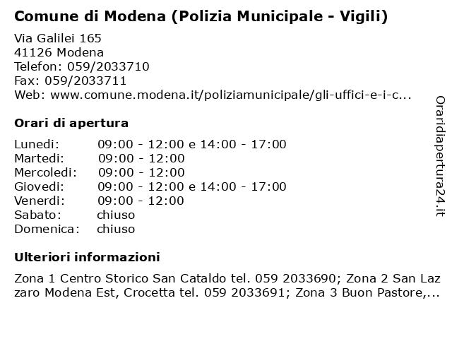 Comune di Modena (Polizia Municipale - Vigili) a Modena: indirizzo e orari di apertura